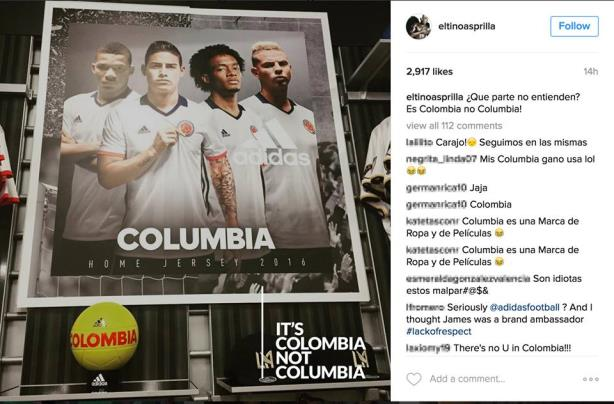 Adidas, there's no U inColombia!