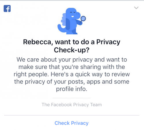 It's Facebook privacy check-uptime!