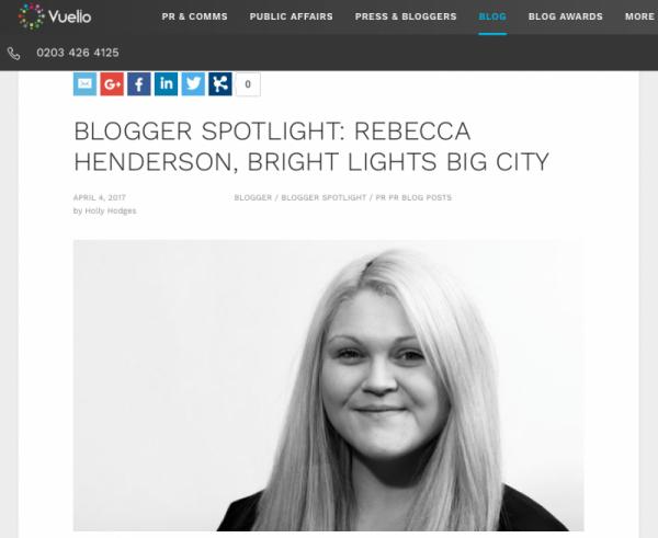 I'm on Vuelio's BloggerSpotlight!