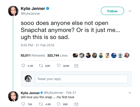 The power of influencers – Kylie Jenner wipes $1.3 billion off of Snapchat's market value