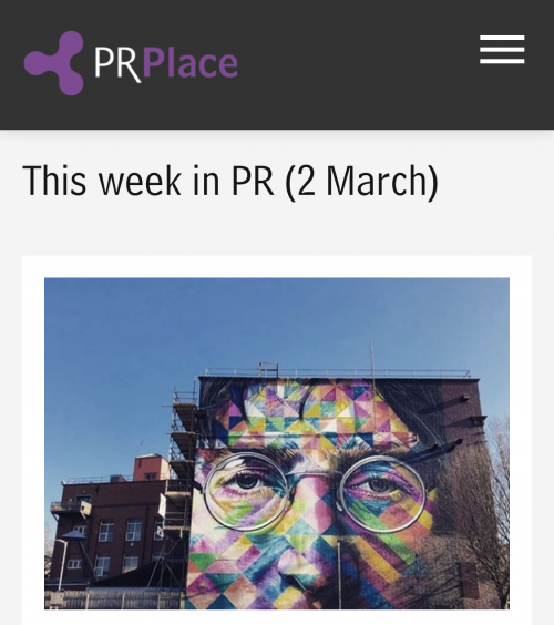 Bright Lights Big City features in 'This week in PR', PR Place, 2March