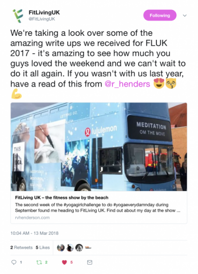 Bright Lights Big City mentioned by FitLiving UK on 13 March2018