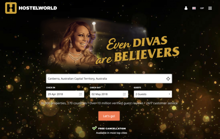 Creative Campaigns #28 – Even Divas are believers…Mariah Carey stays in a hostel