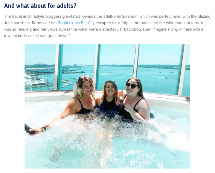 Bright Lights Big City is featured on Royal Caribbean UK's blog and socialmedia