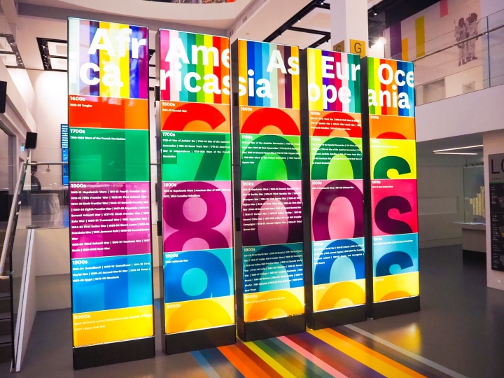 The Army over time starting from the 1600s to modern day. It's all on a colourful rainbow timeline art installation that's five boards that are taller than one floor of there museum.