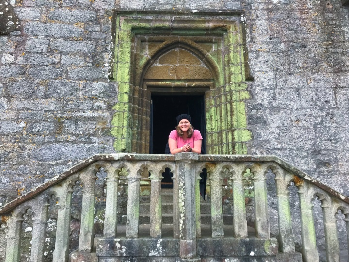 Bex in front of the chapel's stairs at St. Michael's Mount Castle